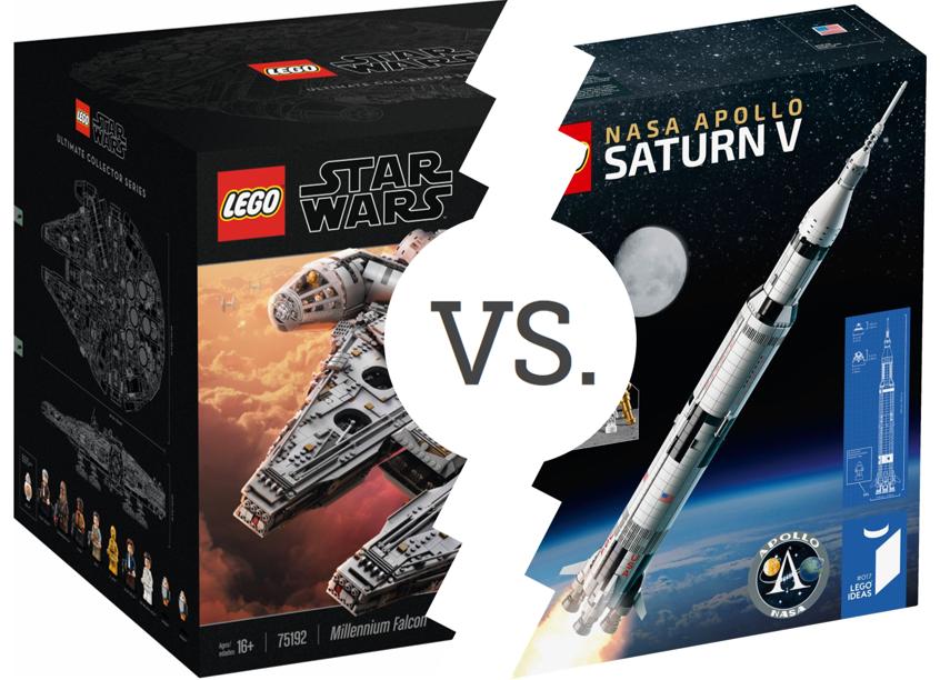 Brickset Bouts: Millennium Falcon vs NASA Apollo Saturn V