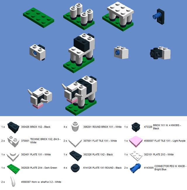 Lego Big E Make and Take Cow Instructions