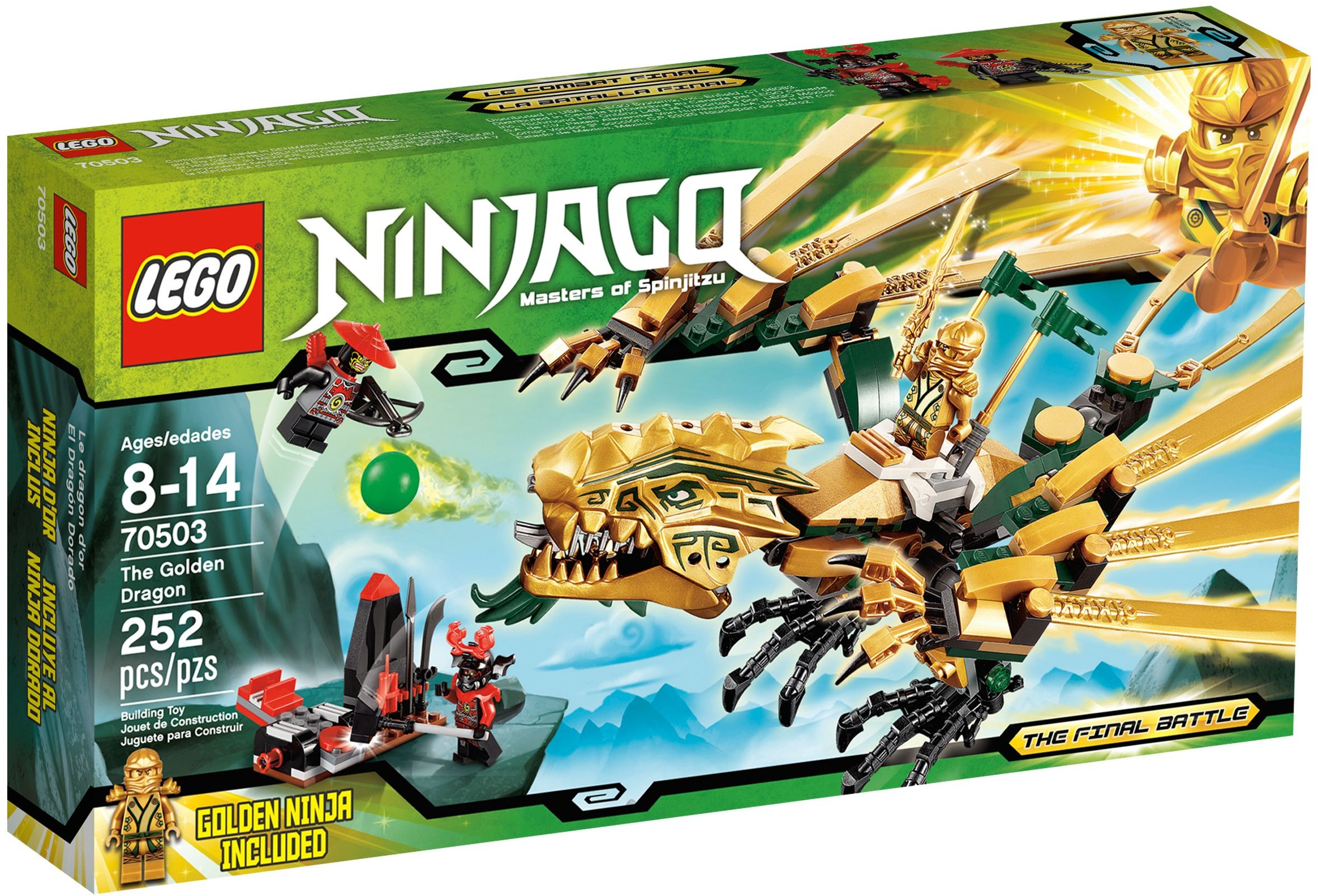 Ninjago golden dragon 70503 lloyd ninja minifig kai 39 s fire mech lego 70500 new ebay - Dragon ninjago lego ...