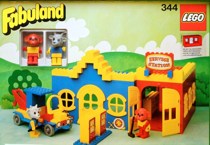 Lego 344 Service Station with Billy Goat and Mike Monkey image