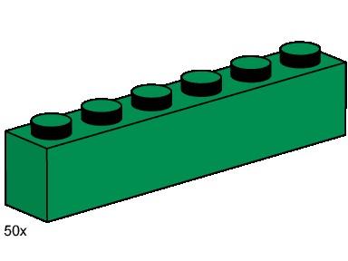 Изображение набора Лего 3476 1x6 Dark Green Bricks