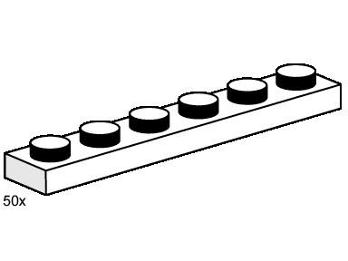 Lego 3487 1x6 White Plates image