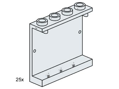 Lego 3507 1x4x3 Wall Element Clear image