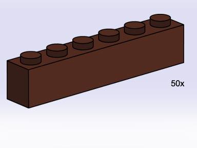 Lego 3752 1x6 Brown Bricks image