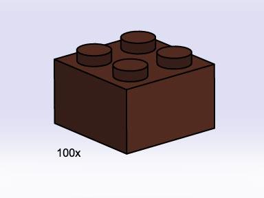 Lego 3753 2x2 Brown Bricks image