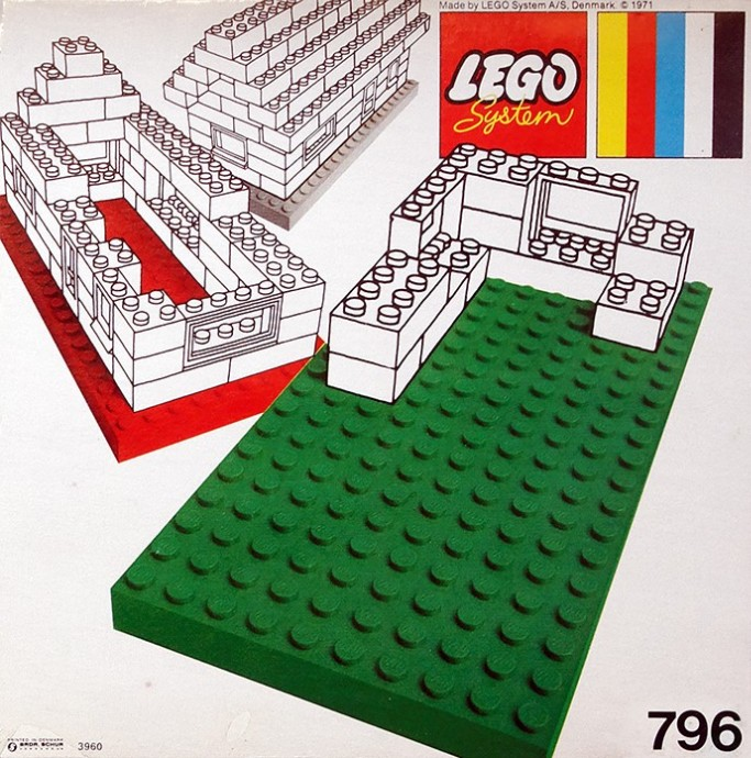 Lego 796 2 Large Baseplates, Green/Yellow image
