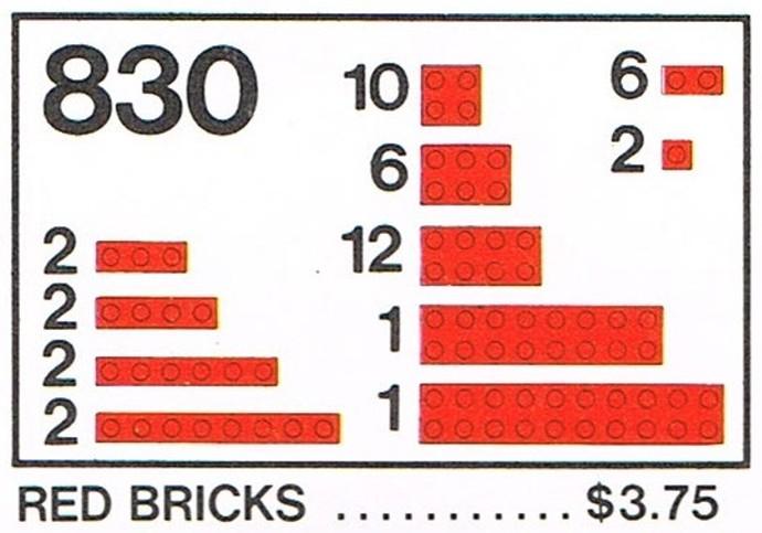 Lego 830 Red Bricks Parts Pack image