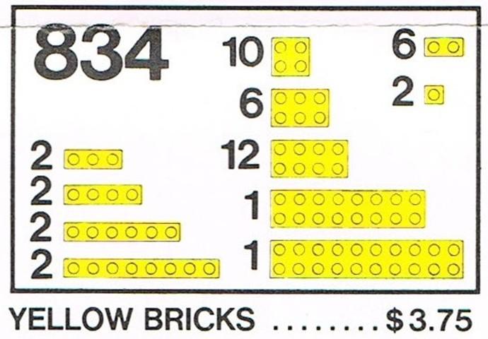 Изображение набора Лего 834 Yellow Bricks Parts Pack