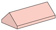Lego 10007 2x4 Sand Red Ridge Roof Tiles, Steep Sloped