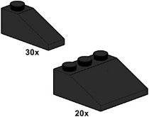 Lego 10055 Black Roof Tiles