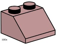 Lego 10114 2 x 2 Sand Red Roof Tile
