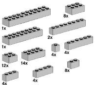Lego 10145 Assorted Light Grey Bricks