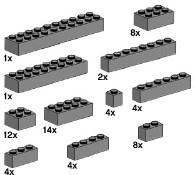 Lego 10146 Assorted Dark Grey Bricks