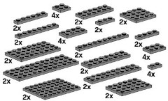 Lego 10149 Assorted Dark Grey Plates