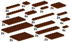 Lego 10150 Assorted Brown Plates
