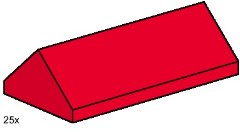 Lego 3445 2x4 Ridge Roof Tiles Steep Sloped Red