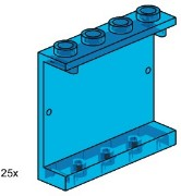 Lego 3447 1x3x4 Wall Element Transparent Blue