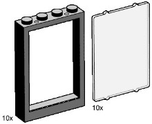 Lego 3448 1x4x5 Black Window Frames with Clear Panes