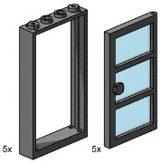 Lego 3449 1x4x6 Black Door and Frames with Transparent Blue Panes