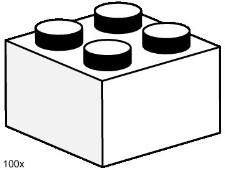 Lego 3455 2x2 White Bricks