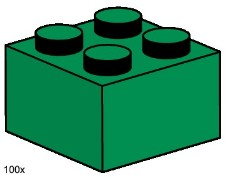 Lego 3456 2x2 Dark Green Bricks