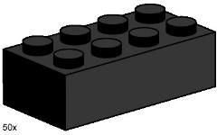 Lego 3458 2x4 Black Bricks