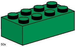 Lego 3461 2x4 Dark Green Bricks