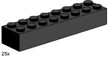 Lego 3463 2x8 Black Bricks
