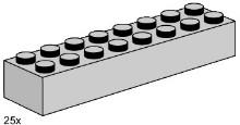 Lego 3464 2x8 Light Grey Bricks