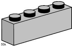 Lego 3469 1x4 Light Grey Bricks