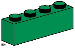 Lego 3471 1x4 Dark Green Bricks
