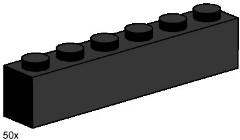 Lego 3473 1x6 Black Bricks