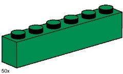 Lego 3476 1x6 Dark Green Bricks