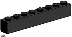 Lego 3478 1x8 Black Bricks