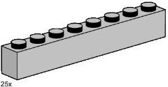 Lego 3479 1x8 Light Grey Bricks