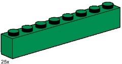 Lego 3481 1x8 Dark Green Bricks