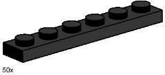 Lego 3486 1x6 Black Plates