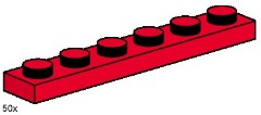 Lego 3488 1x6 Red Plates