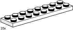 Lego 3490 2x8 White Plates