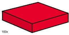 Lego 3494 2x2 Red Smooth Tiles