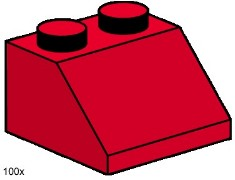 Lego 3496 2x2 Roof Tiles Steep Sloped Red