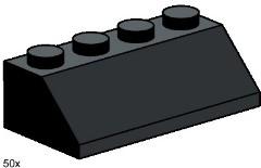 Lego 3497 2x4 Roof Tiles Steep Sloped Black