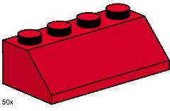Lego 3498 2x4 Roof Tiles Steep Sloped Red