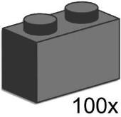 Lego 3726 1x2 Dark Grey Bricks