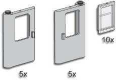 Lego 3735 Grey Train Doors with Panes