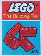 Lego 480 Slopes and Slopes Double 2 x 4, Red (The Building Toy)