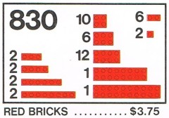 Lego 830 Red Bricks Parts Pack