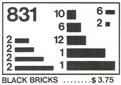 Lego 831 Black Bricks Parts Pack
