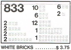 Lego 833 White Bricks Parts Pack