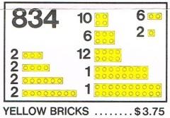 Lego 834 Yellow Bricks Parts Pack